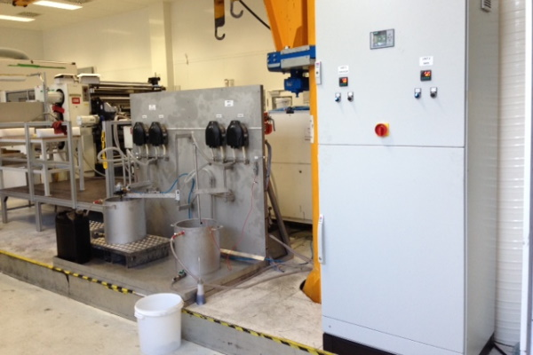 Special pump project for double coating supply and ink temperature control